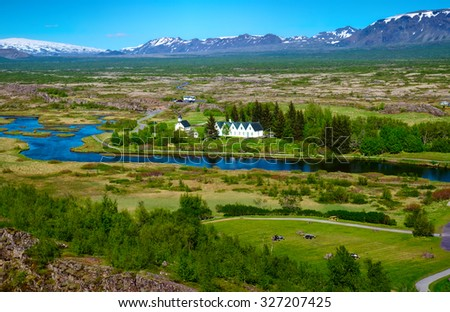 Landscape in the Thingvellir National Park in Iceland - stock photo