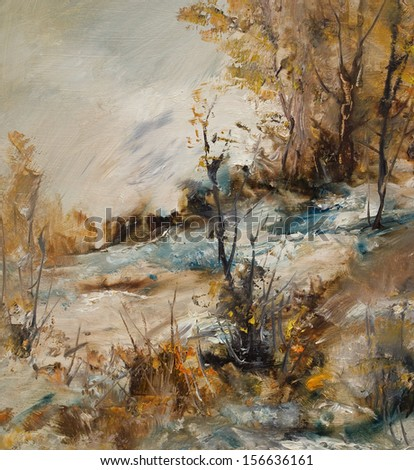 Landscape in winter, oil painting illustration - stock photo