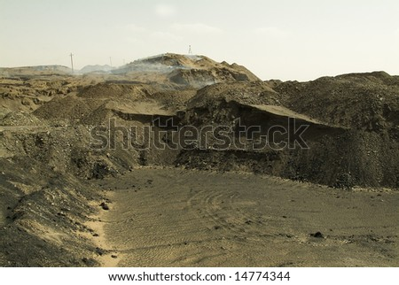 Landscape in Wuda Coal Fires in China - stock photo