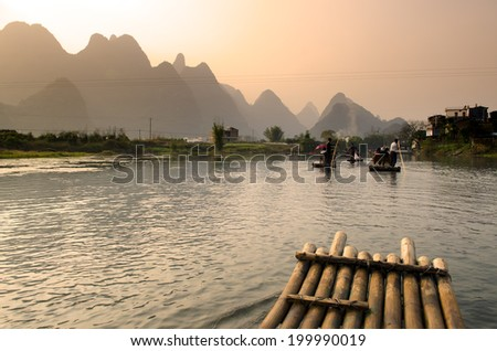 Landscape in Yangshuo Guilin, China   - stock photo