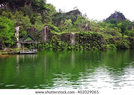 landscape lagoon in forest in thailand - stock photo