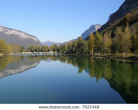 Landscape lake and mountain in autumn