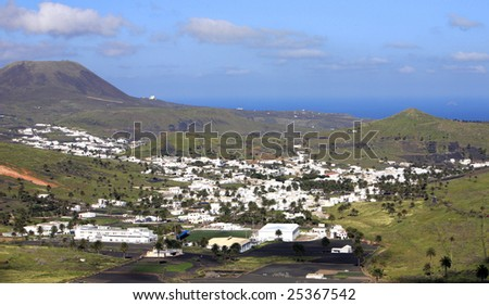 Landscape Lanzarote, Small town Haria, Canary Islands, Spain - stock photo