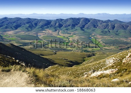 landscape little karoo in South Africa as seen from the top of swartberg pass - stock photo