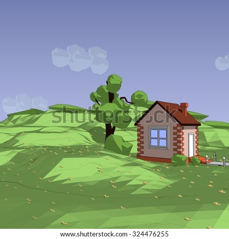 landscape low poly house, clean sky clouds and bright green grass