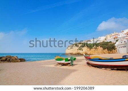 Landscape marine town of Carvoeiro with fishermen boats. Portugal. - stock photo