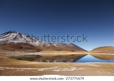 Landscape. Miniques Lagoon in San Pedro Atacama, Chile - stock photo