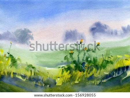 Landscape. Morning. Watercolor. - stock photo