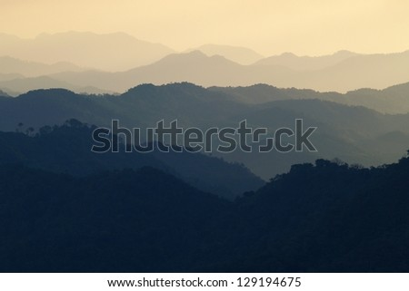 landscape mountain and warm light in nature - stock photo