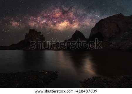 Landscape mountain with Milky Way galaxy  - stock photo