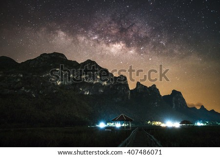Landscape mountain with Milky Way galaxy Universe - stock photo