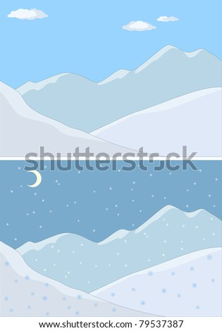 Landscape: mountains covered with snow,  blue sky and white clouds