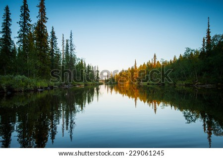 landscape national park at sunset - stock photo