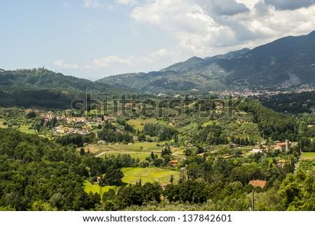 Landscape near Camaiore (Lucca, Tuscany, Italy) at summer - stock photo