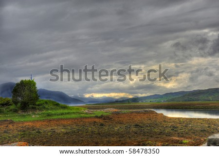 Landscape near Eilean Donan Castle  one of the most iconic images of Scotland. - stock photo