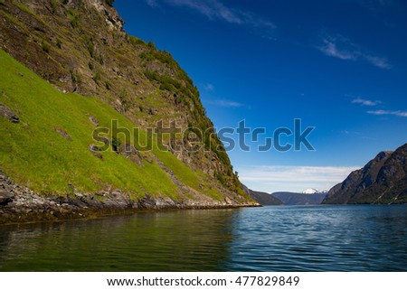 Landscape near Flam, Norway during the summer season.