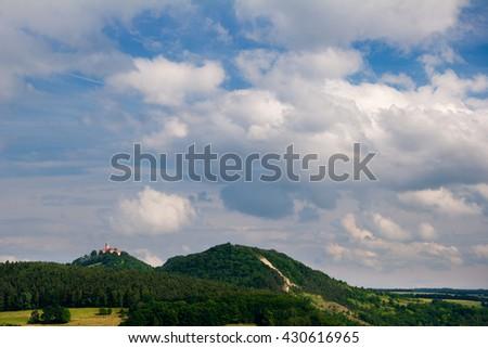Landscape near Kahla in Thuringia with caslte Leuchtenburg behind the mount Pfaffenberg - stock photo
