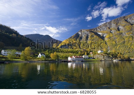 Landscape near lake with autumn colors - Flam in Norway - stock photo