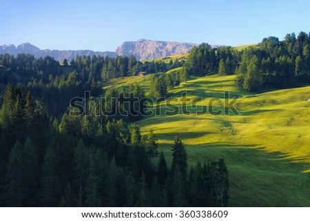 landscape near mountain Schlern in Alto Adige, italian Dolomites - stock photo