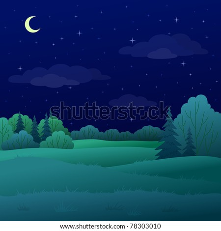landscape: night summer forest with green trees and the sky with moon and stars