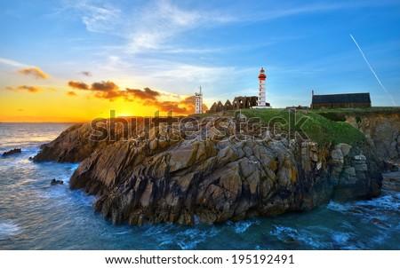 landscape northwest coast of france - stock photo
