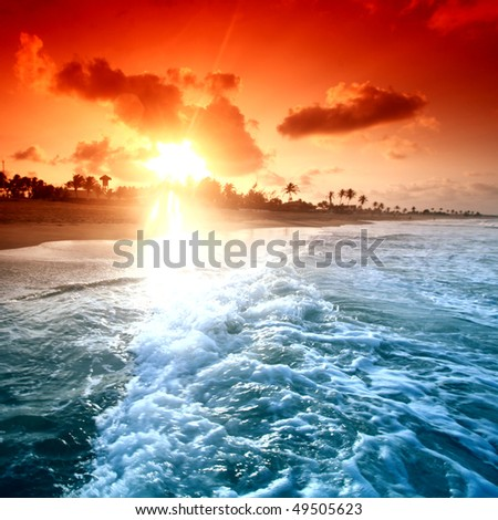 landscape ocean - stock photo