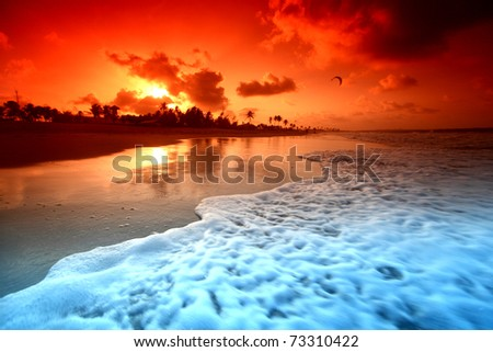 landscape ocean sunrise - stock photo