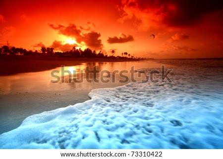 landscape ocean sunrise - stock photo