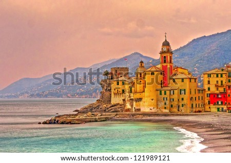 Landscape of a colorful village, Camogli, Liguria, Italy - stock photo