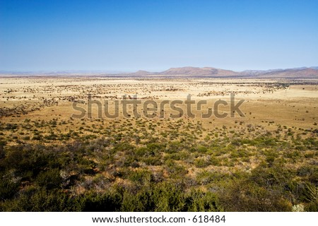 Landscape of a dry area in South Africa - stock photo