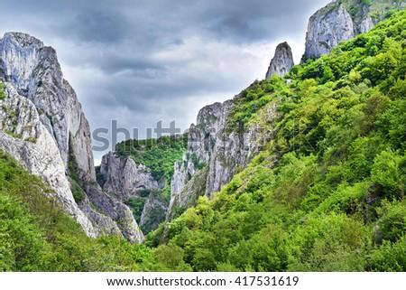 Landscape of a gorge. Cheile Turzii, Romania - stock photo