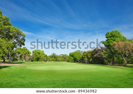 landscape of a green field with trees and  bright blue sky - stock photo