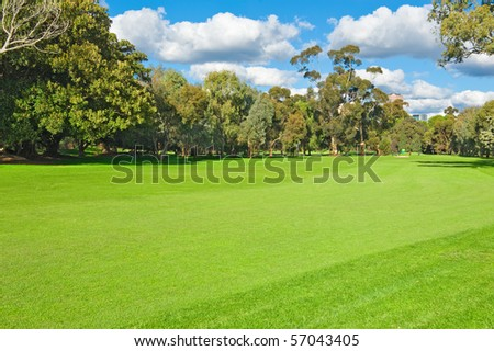landscape of a green golf field near the city