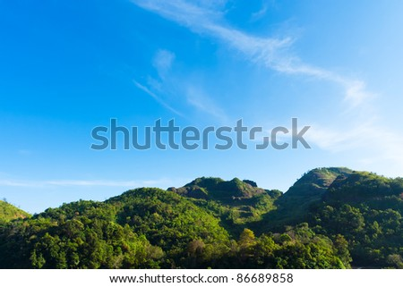 Landscape of a mountain in tropical rainforest. - stock photo