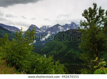 Landscape of a peak in Glacier National Park, Montana. - stock photo