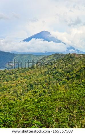 Landscape of Agung volcano on Bali island, Indonesia - stock photo