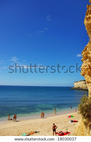 Landscape of Algarve Beach at Portugal. - stock photo