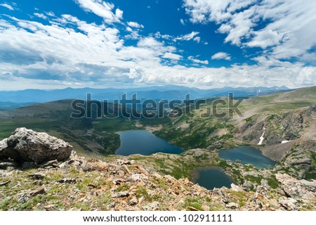 Landscape of alpine mountain lakes in the Colorado Rockies - stock photo