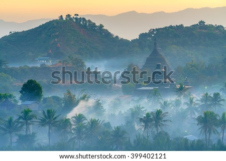 landscape of ancientpagodas at twilight in Mrauk-U, Myanmar. - stock photo
