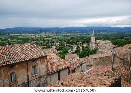Landscape of antique village of Bonnieux and countryside, Vaucluse, Provence, France - stock photo