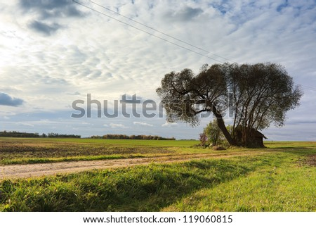 Landscape of autumn in Lithuania. - stock photo
