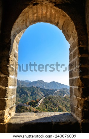 Landscape of  Badaling Great Wall. Located in Beijing, China. - stock photo