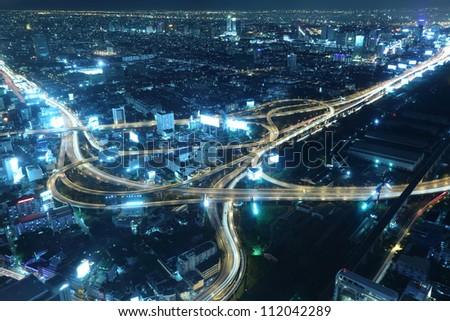Landscape of Bangkok city and Expressway at Night - stock photo