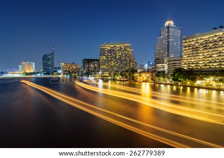 Landscape of Bangkok, River in the city of lights at night. - stock photo