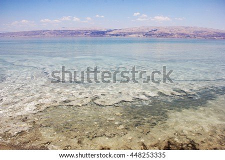 Landscape of beach and rocks at the Dead Sea