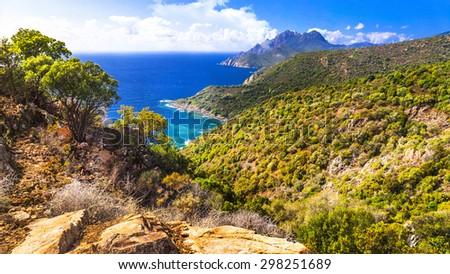 landscape of beautiful Corsica island - stock photo