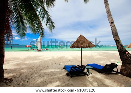 Landscape of beautiful exotic beach in Boracay Philippines - stock photo