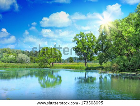 Landscape of beautiful lake and sunlight - stock photo