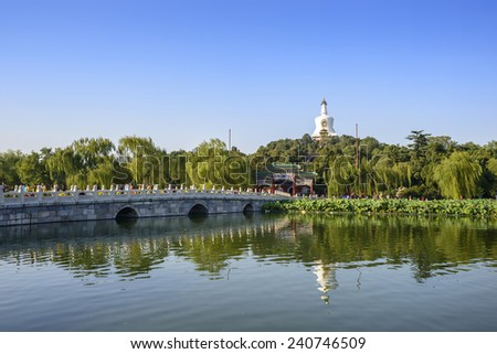 Landscape of Beihai Park. Located in Beijing, China. - stock photo