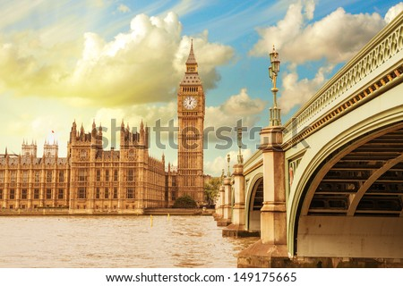 Landscape of Big Ben and Palace of Westminster with Bridge and Thames - London. - stock photo